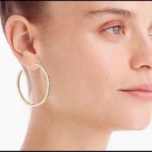 JCREW Pave Crystal 2 Inch Hoop Earrings